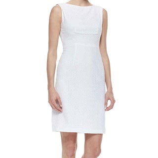 T Tahari Myra White Eyelet Dress