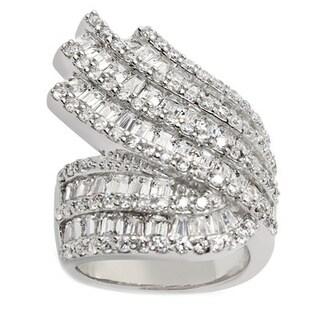 Gioelli Sterling Silver Multi-cut Cubic Zirconia Wavy Band Ring