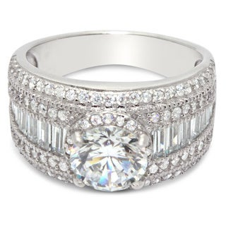 Gioelli Sterling Silver Round-cut Cubic Zirconia Engagement-style Band Ring