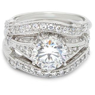Gioelli Sterling Silver Round-cut Cubic Zirconia 3-piece Filigree Bridal Set Ring