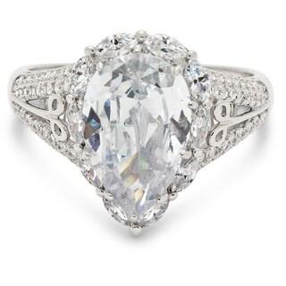 Gioelli Sterling Silver Pear-cut Cubic Zirconia Ring