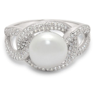 Gioelli Sterling Silver Pearl and Cubic Zirconia Ring