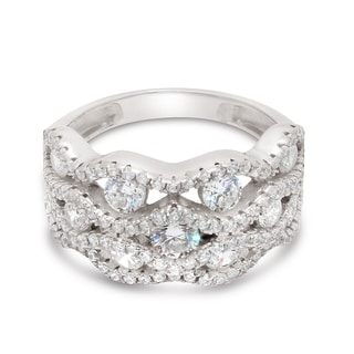 Gioelli Sterling Silver Multi Stone Vintage-style Cubic Zirconia Ring