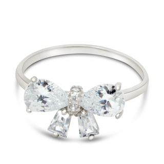 Gioelli Sterling Silver Cubic Zirconia Butterfly Engagement-style Ring
