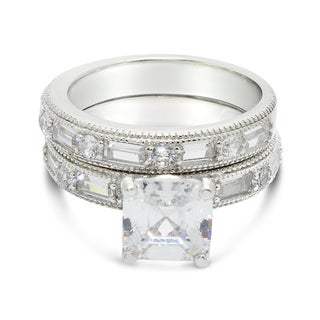 Gioelli Sterling Silver Asscher-cut Cubic Zirconia 2-piece Bridal Set Ring