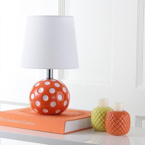Safavieh Kids Lighting 14.5-inch Polka dot Orange / White Mini Table Lamp