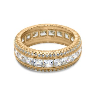 Gioelli Sterling Silver Goldplated Cubic Zirconia Channel-set Eternity Ring