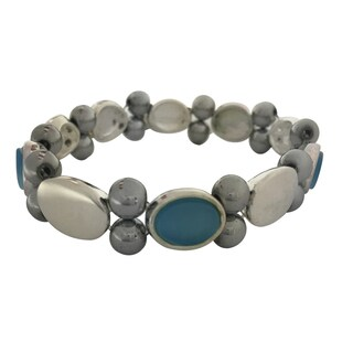 Magnetic Hematite Bracelet with Light Blue Stone