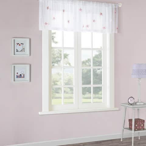 """Mi Zone Taylor Floral Applique Sheer Valance with Rod Pocket Finish - 52x18"""""""