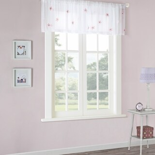 Mi Zone Taylor Floral Applique Sheer Valance with Rod Pocket Finish