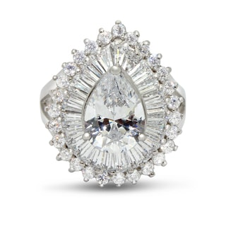 Gioelli Sterling Silver Pear-cut Micro Pave Cubic Zirconia Ring
