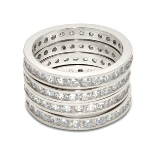 Gioelli Sterling Silver Cubic Zirconia Stackable 4-piece Channel-set Eternity Ring