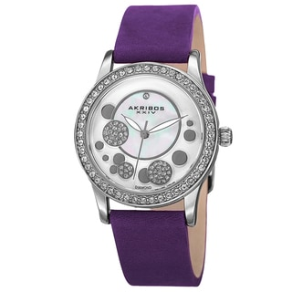 Akribos XXIV Women's Quartz Diamond Leather Purple Strap Watch