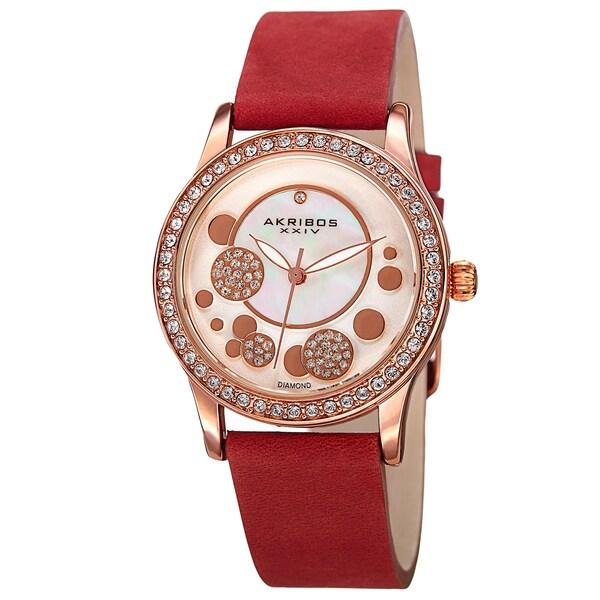 Akribos XXIV Women's Quartz Diamond Leather Red Strap Watch