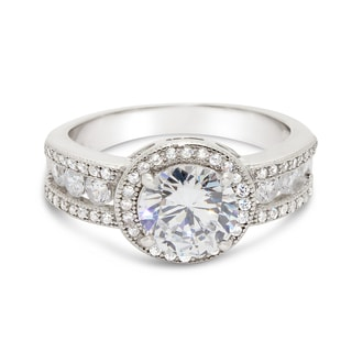 Gioelli Sterling Silver Round-cut Cubic Zirconia Halo Engagement-Style Ring