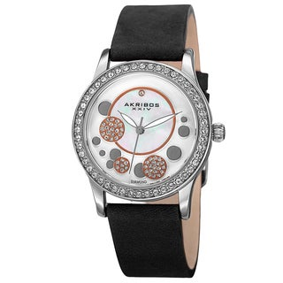 Akribos XXIV Women's Quartz Diamond Leather Black Strap Watch