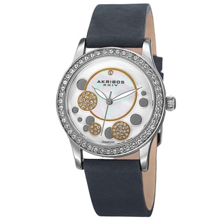 Akribos XXIV Women's Quartz Diamond Leather Blue Strap Watch