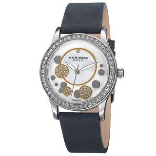 Akribos XXIV Women's Quartz Diamond Leather Blue Strap Watch - grey