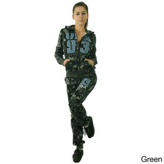 Special One Women's 2-piece Light Fleece Hooded Camouflage Tracksuit