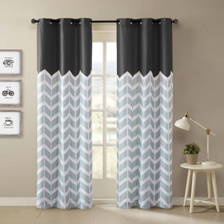 Porch & Den Carytown Dooley Chevron Printed Grommet Top Curtain Panel Pair (More options available)