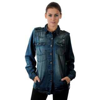 Vanilla Star Women's Bleach Blue Denim Jacket Shirt