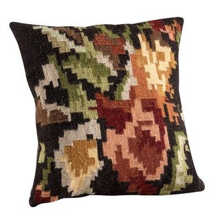 M.A. Trading Hand-woven Karba3 Brown Pillow (16-inch x 16-inch)