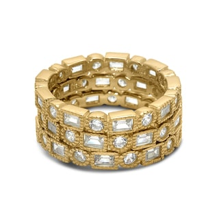 Gioelli Sterling Silver Goldplated Cubic Zirconia Stackable 3-piece Band Ring