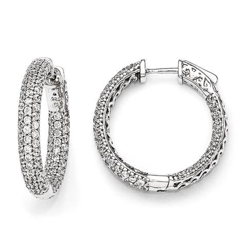 Sterling Silver Pave Cubic Zirconia In and Out Hoop Earrings by Versil