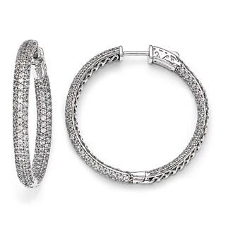 Versil Sterling Silver Pave Cubic Zirconia Hoop Earrings