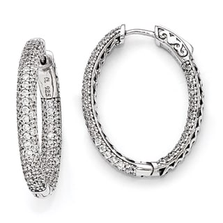 Versil Sterling Silver Pave Cubic Zirconia Hoop Earrings