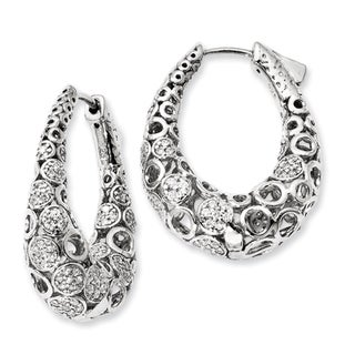 Versil Sterling Silver Cubic Zirconia Oval Hoop Earrings