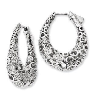 Versil Sterling Silver Cubic Zirconia Oval Hoop Earrings