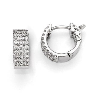 Versil Sterling Silver Cubic Zirconia Small Hinged Hoop Earrings