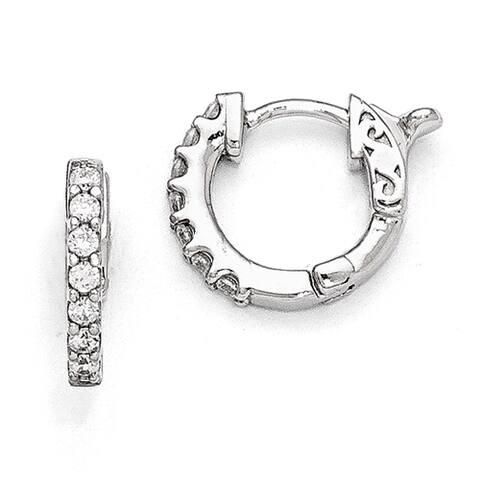 Versil Sterling Silver Cubic Zirconia Small Hoop Earrings