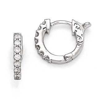 Versil Sterling Silver Cubic Zirconia Small Hoop Earrings