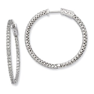 Versil Sterling Silver Cubic Zirconia 76-stones Round Hoop Earrings
