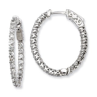 Versil Sterling Silver Cubic Zirconia 46-stones Oval Hoop Earrings