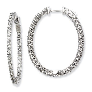 Versil Sterling Silver Cubic Zirconia 66-stones Oval Hoop Earrings