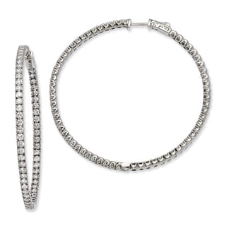 Versil Sterling Silver Cubic Zirconia 124-stones Round Hoop Earrings