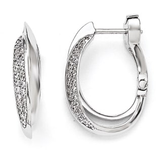 Versil Sterling Silver Cubic Zirconia Oval Double Hoop Earrings