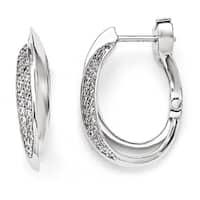 Versil Sterling Silver Cubic Zirconia Oval Double Hoop Earrings
