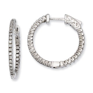 Versil Sterling Silver Cubic Zirconia 60-stones Hoop Earrings