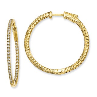 Versil Gold over Silver Cubic Zirconia Hoop Earrings