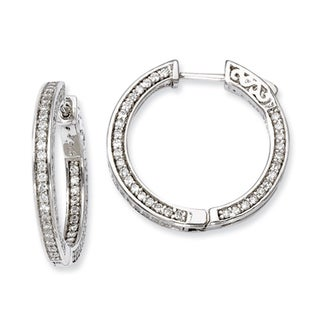 Versil Sterling Silver Cubic Zirconia 200-stones Round Hoop Earrings