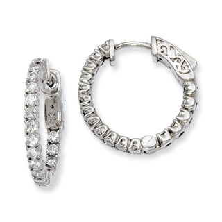 Versil Sterling Silver Cubic Zirconia 34-stones Round Hoop Earrings