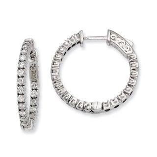Versil Sterling Silver Cubic Zirconia 44-stones Round Hoop Earrings