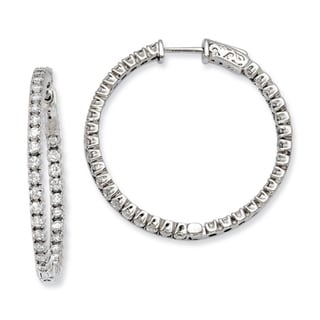 Versil Sterling Silver Cubic Zirconia 70-stones Round Hoop Earrings
