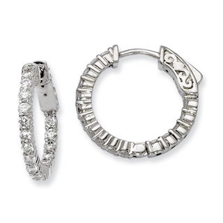Versil Sterling Silver Cubic Zirconia 32-stones Round Hoop Earrings