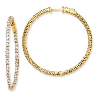 Versil Gold over Silver Cubic Zirconia Hoop Earrings