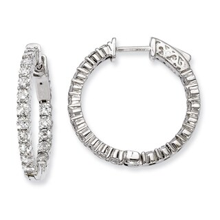 Versil Sterling Silver Cubic Zirconia 40-stones Round Hoop Earrings